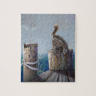 Oregon Coast Brown Pelican Acrylic Ocean Art Jigsaw Puzzle