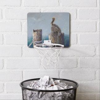 Oregon Coast Brown Pelican Acrylic Ocean Art Mini Basketball Hoop