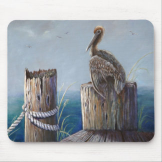 Oregon Coast Brown Pelican Acrylic Ocean Art Mouse Pad