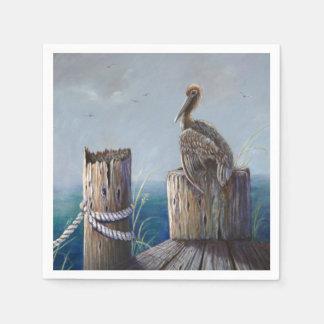 Oregon Coast Brown Pelican Acrylic Ocean Art Paper Napkin