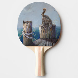 Oregon Coast Brown Pelican Acrylic Ocean Art Ping Pong Paddle