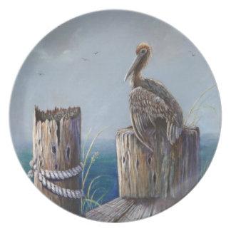 Oregon Coast Brown Pelican Acrylic Ocean Art Plate