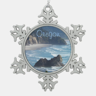 Oregon Coastline Photo Snowflake Pewter Christmas Ornament