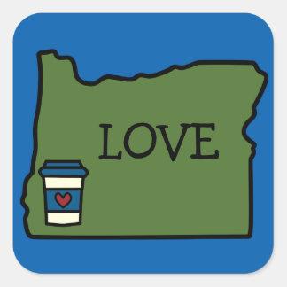 Oregon & Coffee Square Sticker