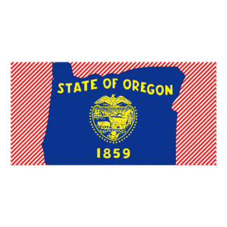 Oregon Flag Map Picture Card