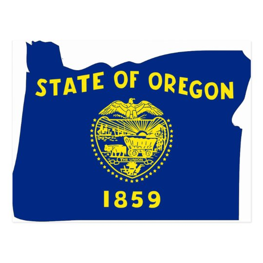 Oregon Flag Map Postcard