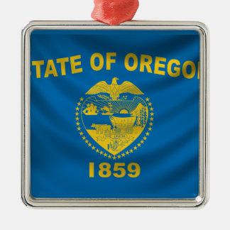 Oregon Flag Silver-Colored Square Decoration