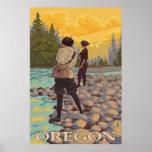 Oregon Fly Fishing - Vintage Travel Poster