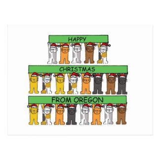 Oregon Happy Christmas cats in Santa hats. Postcard
