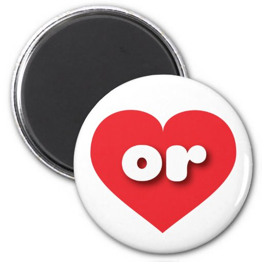 Oregon or red heart magnets
