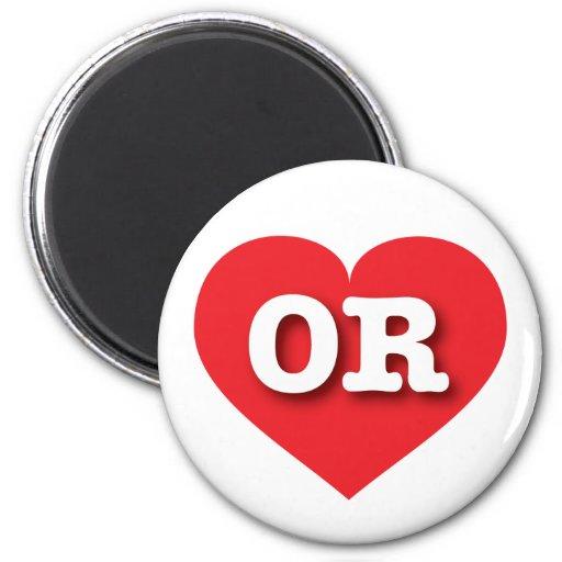 Oregon OR red heart Fridge Magnets