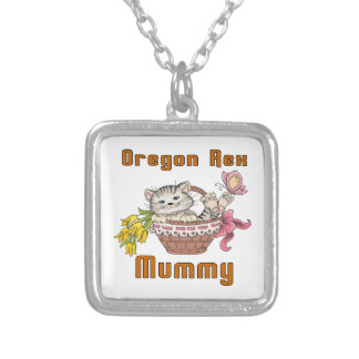 Oregon Rex Cat Mom Silver Plated Necklace