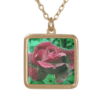 Oregon rose covered in raindrops gold plated necklace
