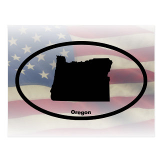 Oregon Silhouette Oval Design Postcard