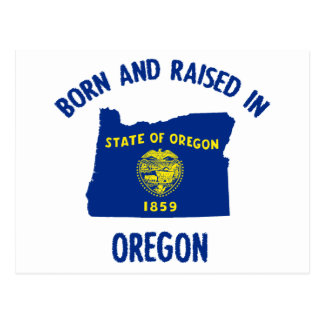 Oregon state flag and map designs postcard