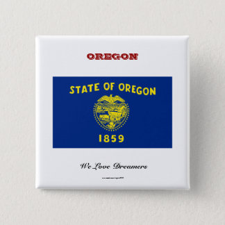 Oregon state flag and slogan 15 cm square badge