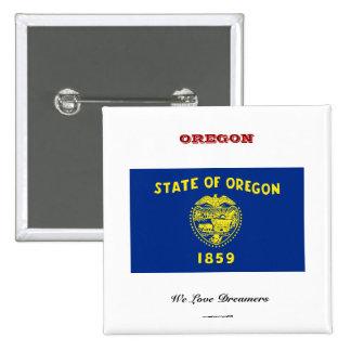 Oregon state flag and slogan 15 cm square badge