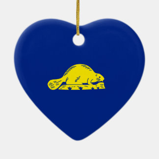 Oregon State Flag Design Double-Sided Heart Ceramic Christmas Ornament