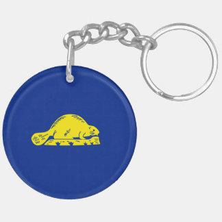 Oregon State Flag Design Double-Sided Round Acrylic Key Ring