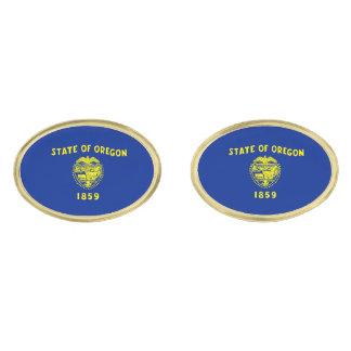 Oregon State Flag Design Gold Finish Cuff Links