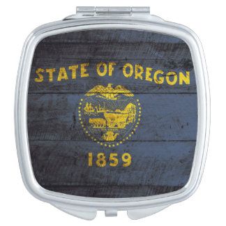Oregon State Flag on Old Wood Grain Compact Mirrors
