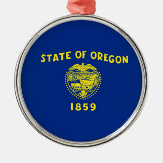 Oregon State Flag Silver-Colored Round Decoration
