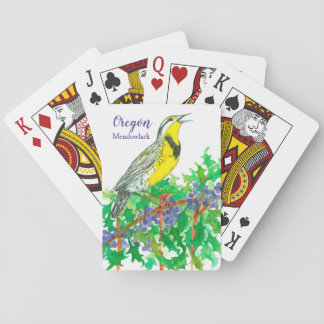 Oregon State Flower Meadowlark Bird Playing Cards