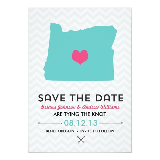 Oregon State Save the Date  - Blue and Pink Card