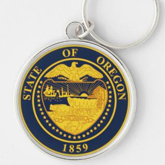 Oregon state seal america republic symbol flag Silver-Colored round key ring