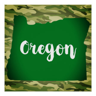 Oregon State Silhouette Camo Wall Poster