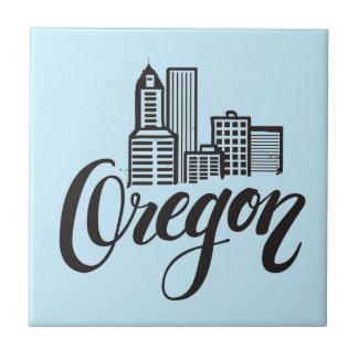 Oregon Typography Design Ceramic Tile