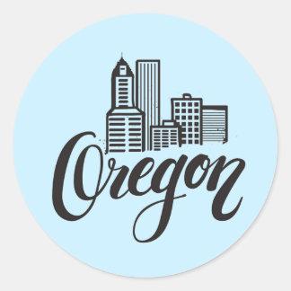 Oregon Typography Design Classic Round Sticker