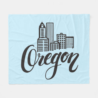 Oregon Typography Design Fleece Blanket