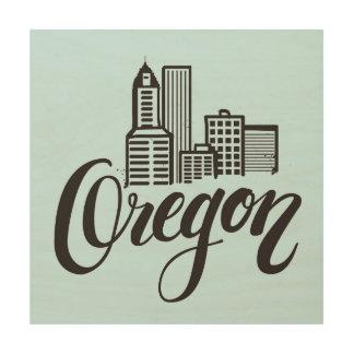 Oregon Typography Design Wood Print