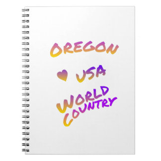 Oregon USA world country, colorful text art Spiral Notebook