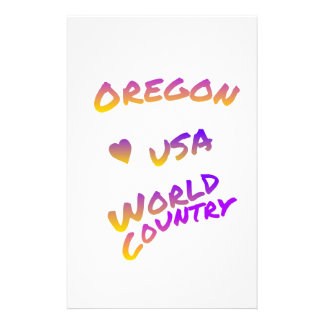 Oregon USA world country, colorful text art Stationery