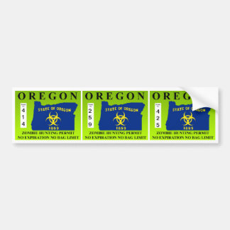 Oregon Zombie Hunting Permit Bumper Sticker
