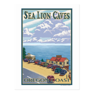 OregonSea Lion Caves Vintage Travel Poster Postcard