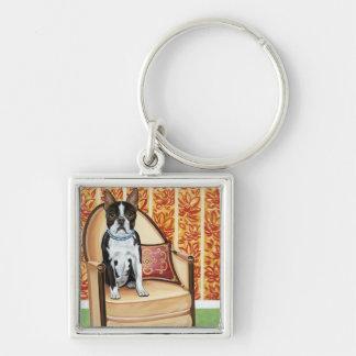 Oreo Cookie Boston Silver-Colored Square Key Ring