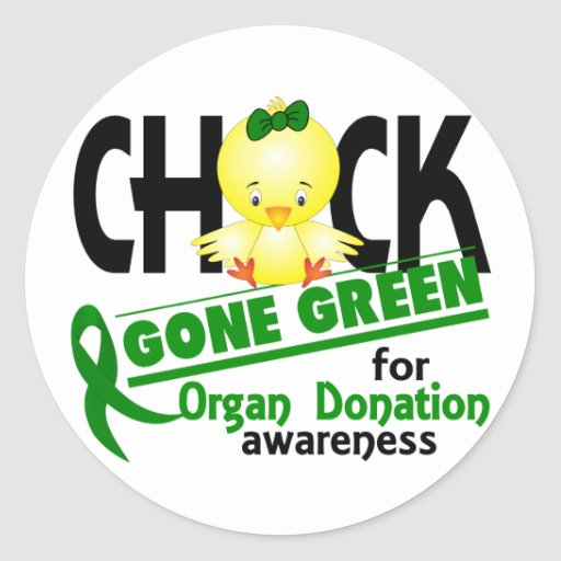 Organ Donation Chick Gone Green 2 Round Stickers