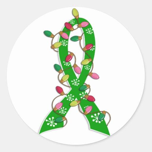 Organ Donation Christmas Lights Ribbon Stickers