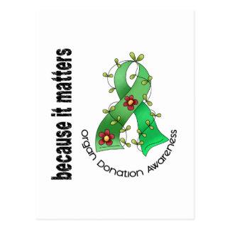 Organ Donation Flower Ribbon Postcard