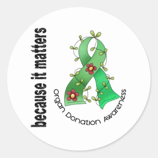 Organ Donation Flower Ribbon Round Sticker