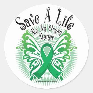 Organ Donor Butterfly 3 Round Sticker