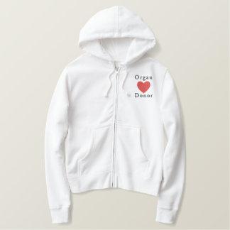 Organ Donor Embroidered Hooded Sweatshirts