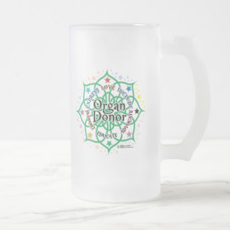 Organ Donor Lotus Frosted Glass Beer Mug