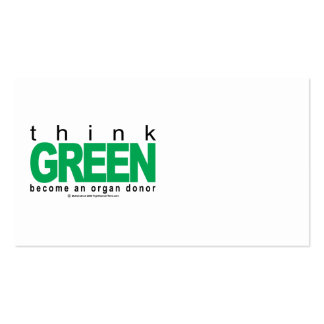 Organ Donor THINK Green Pack Of Standard Business Cards