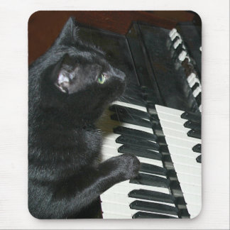 Organ playing cat mouse pad