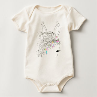 Organic Baby girl bodysuit romper with petal horse