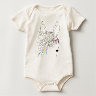 Organic Baby girl bodysuit romper with petal horse